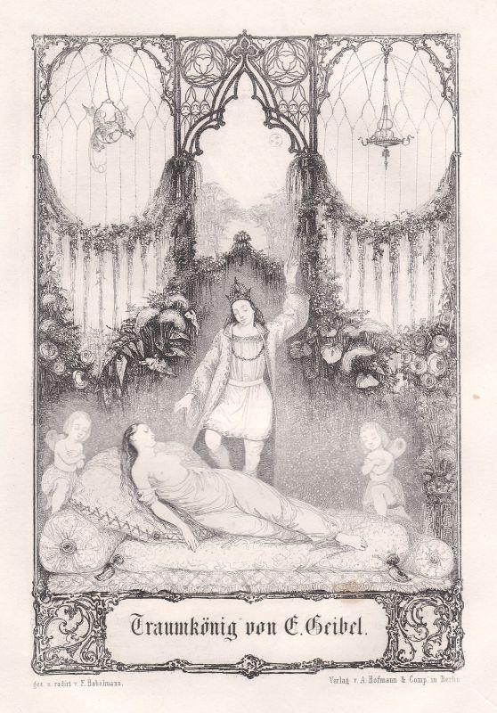 1848 Traumkönig Gedicht Radierung Etching F Habelmann Emanuel Geibel