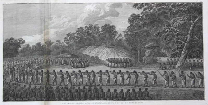 1785 Tongatapu Tonga ceremony Zeremonie Kupferstich antique print James Cook