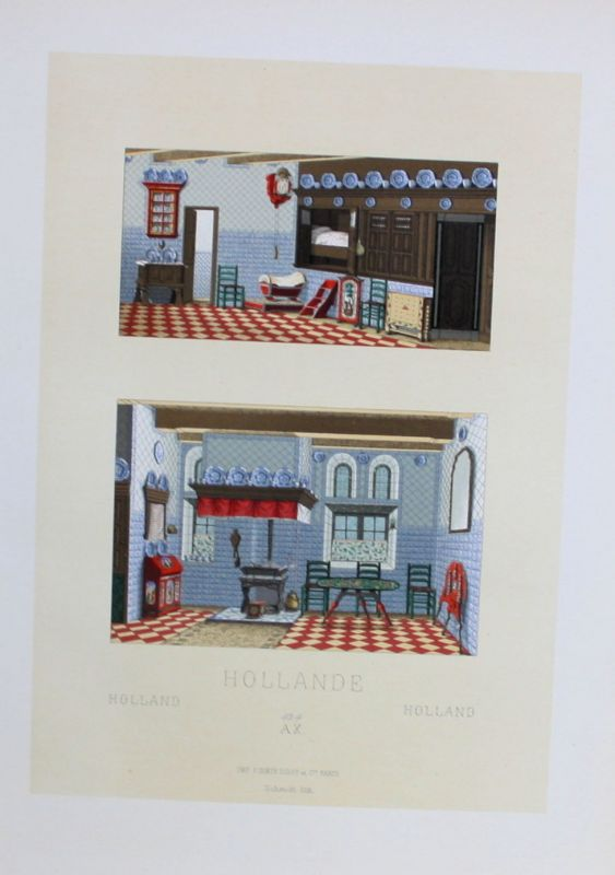 1880 - Hollande Holland Einrichtung furniture Lithographie lithograph
