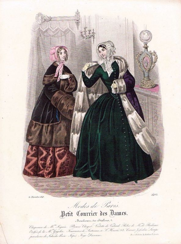1848 Biedermeier Mode Kupferstich victorian fashion antique print etching  62274