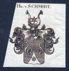 Schmidt Schmid Schmitt Wappen Adel coat of arms Heraldik Kupferstich engraving