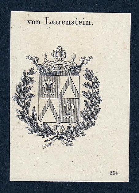 1820 Lauenstein Wappen Adel coat of arms heraldry Heraldik Kupferstich engraving
