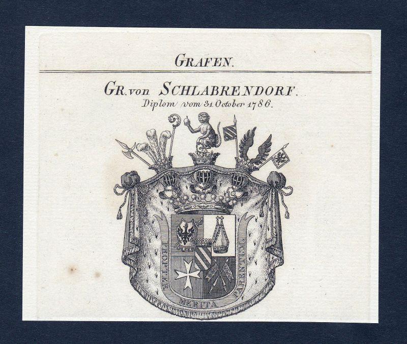 Ca. 1820 Schlabrendorf Schlabrendorff Wappen Adel coat of arms Kupferstic 133703