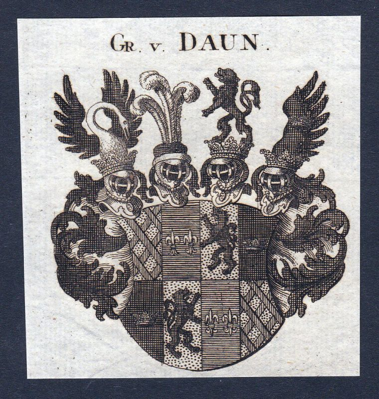 1820 Daun Rheinland Wappen Adel coat of arms Heraldik Kupferstich engraving