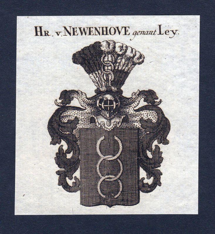 1820 Newenhove Ley Wappen Adel coat of arms Heraldik Kupferstich engraving