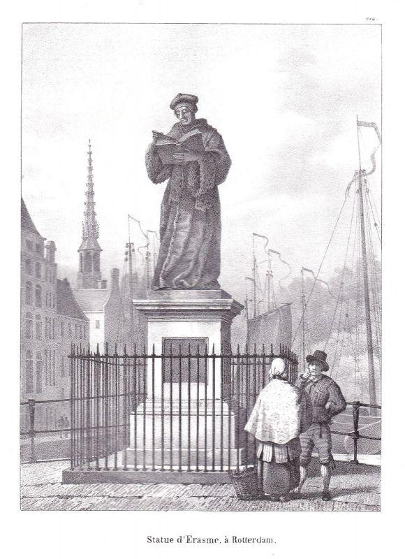 1825 Rotterdam Statue Skulptur Erasmus Lithographie Cloet Niederlande Pays-Bas