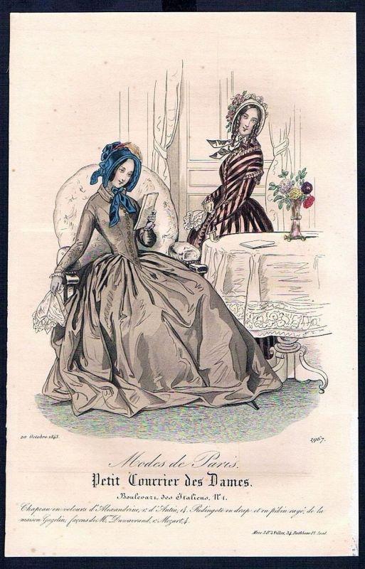 1843 Biedermeier Mode Kupferstich victorian fashion antique print Paris et 88902
