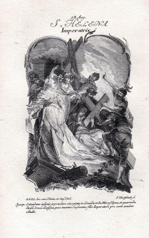 1750 Helena Konstantinopel Heilige holy 18. August Kupferstich antique print