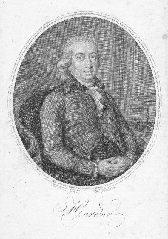 18. Jh Johann Gottfried Herder Dichter Portrait Kupferstich antique print Pölzel