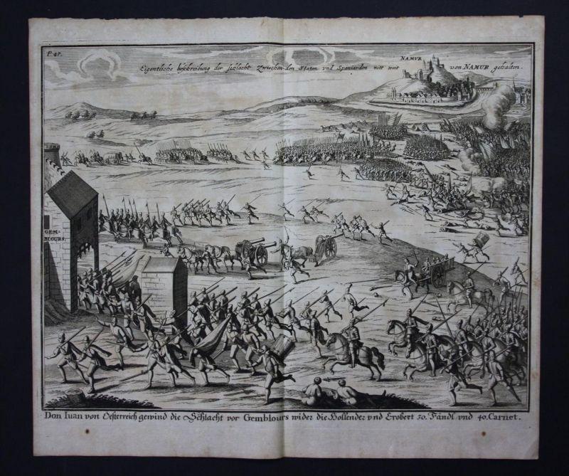 Namur Schlacht battle bataille Kupferstich engraving