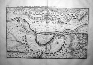 Höxter / Weser Belagerung von 1640 Original Kupferstich Merian
