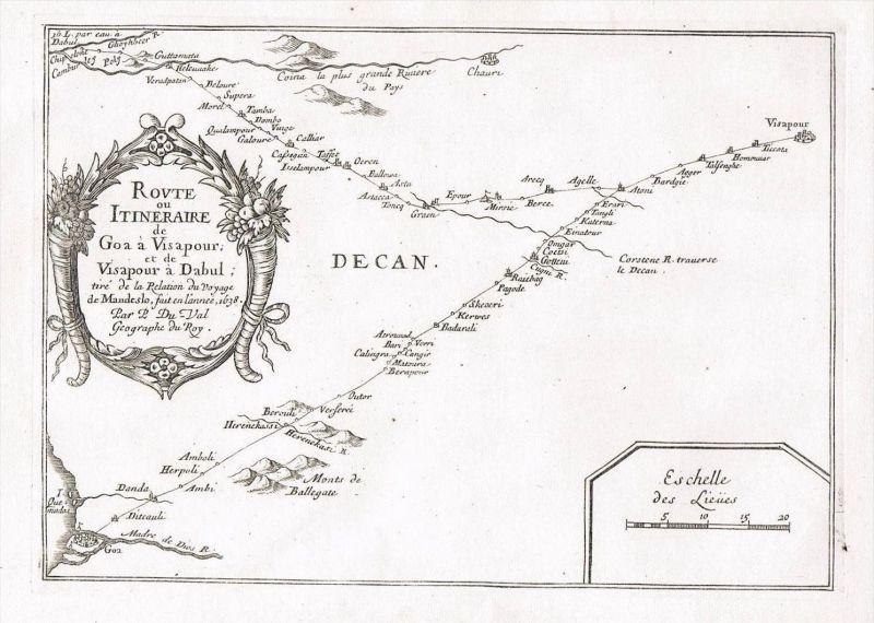 Goa Dabul India Dabhol Indien map Karte Kupferstich Duval carte Asia