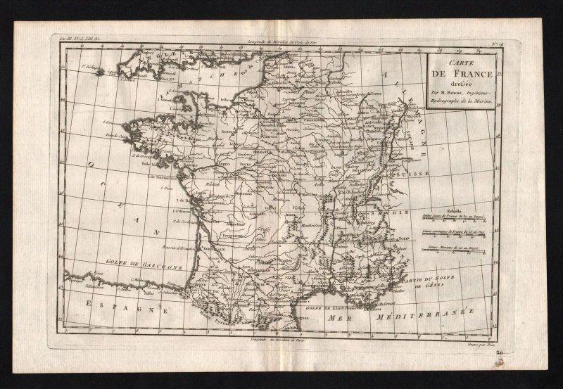 France Frankreich carte gravure map Karte Kupferstich engraving
