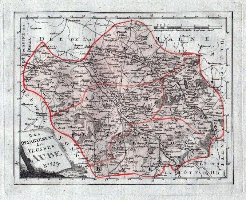 Aube Troyes Arcis Bar Karte Reilly carte gravure map France