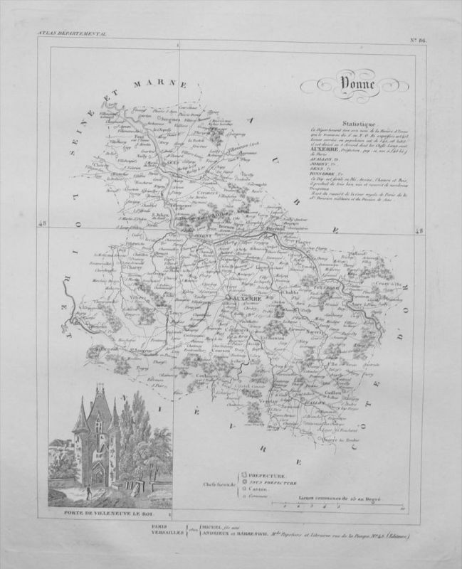 Departement Donne carte gravure Kupferstich Karte map France Frankreich