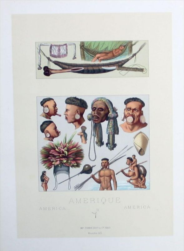 Amerika America Indians Schmuck Indianer costumes Lithographie lithograph