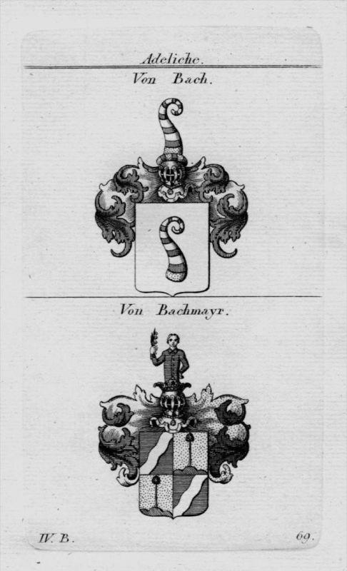 Bach Bachmayr Wappen Adel coat of arms heraldry Heraldik crest Kupferstich