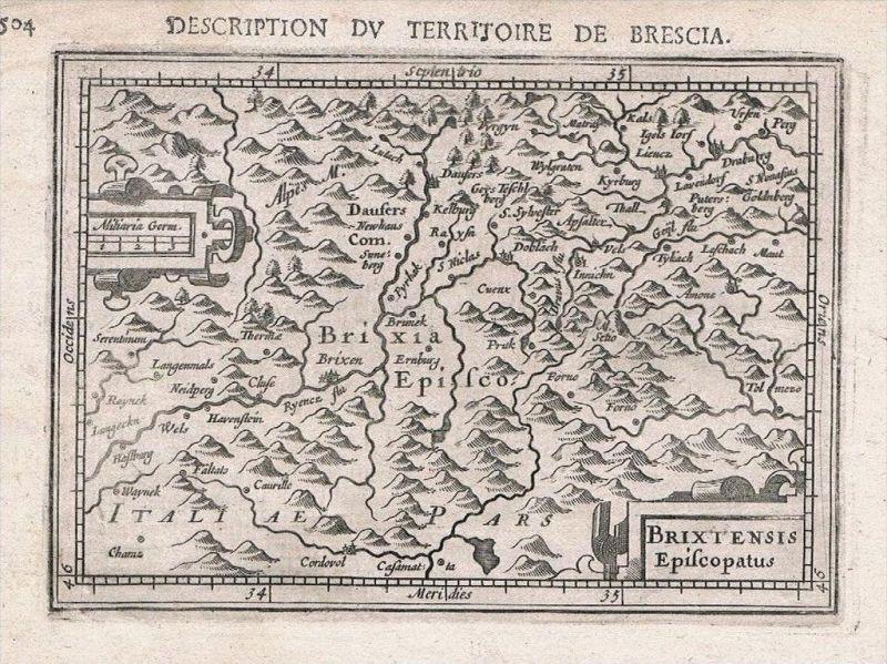 Brixen Bressanone Südtirol Tirol Hondius map Karte Original Kupferstich