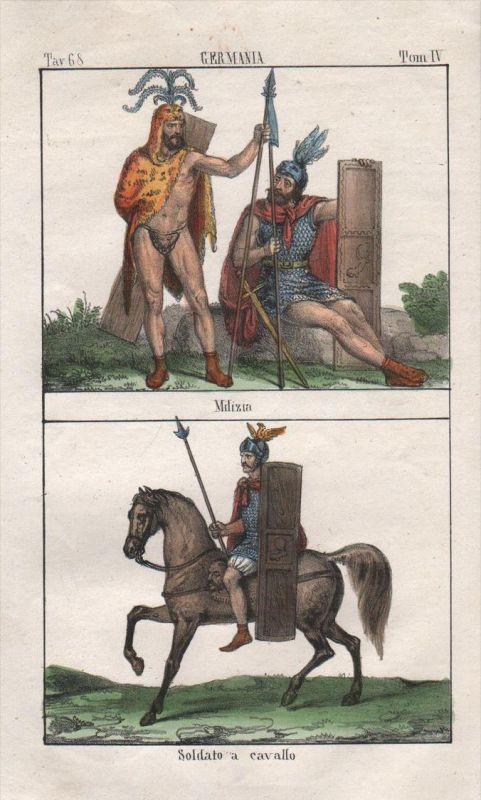 Germanen germanic people Krieger Soldaten soldiers Lithographie