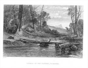 River Derwent Tasmania Australia Australien steel engraving Stahlstich