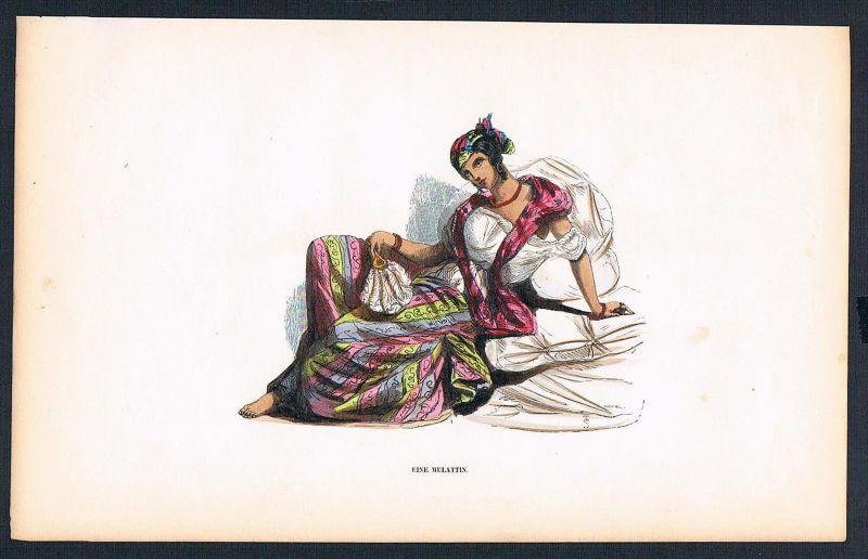 Mulattin Spanien Portugal Tracht Trachten costumes Graphik handkoloriert