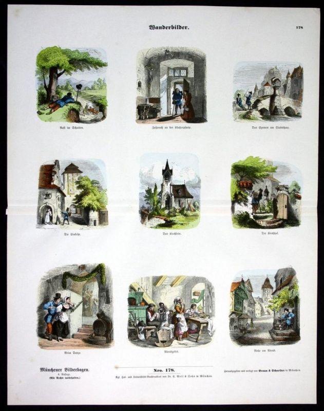 Wanderbilder wandern Wanderer Münchener Bilderbogen