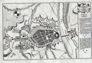 Torgau Belagerung Stadtplan Kupferstich gravure engraving map carte