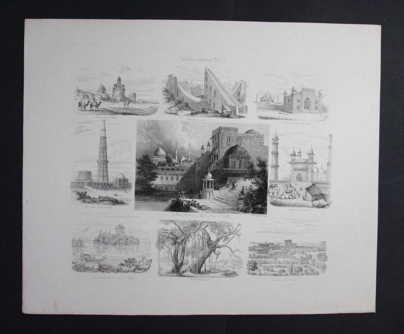 Vorderindien Indien India Delhi Asien Asia Stahlstich Souvenir-Blatt