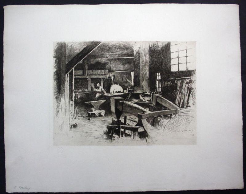 Fritz Voellmy Basel Werkstatt Schmiede Radierung signiert