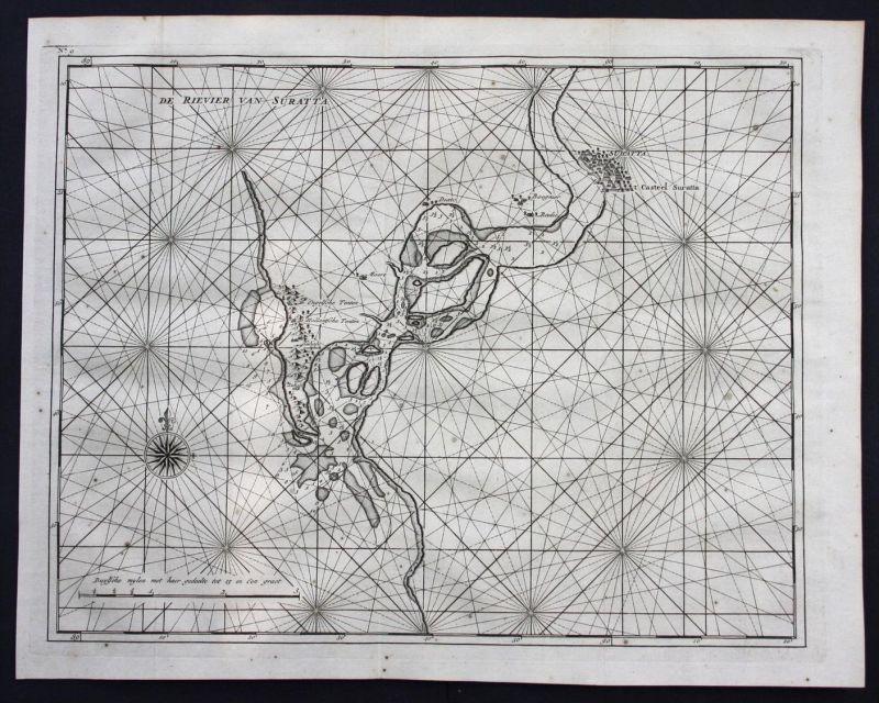 Surat Tapti river India Gujarat sea chart map engraving Valentijn Asia