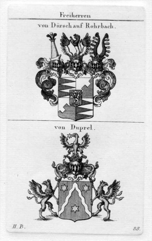 Dürsch Rohrbach Duprel Wappen coat of arms heraldry Heraldik Kupferstich