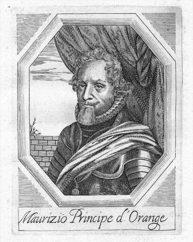 Moritz Oranien Nassau Kupferstich Portrait Maurits Oranje gravure