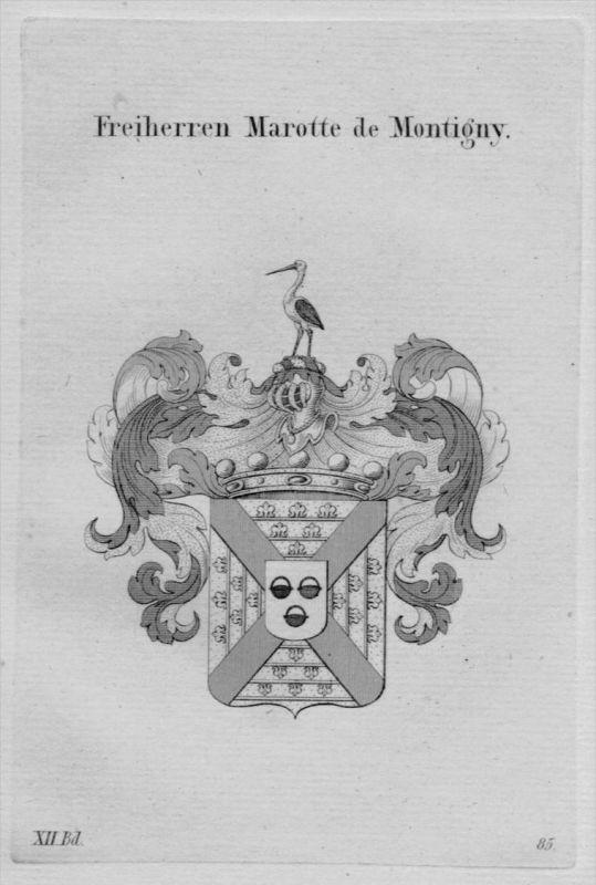 Marotte Montigny Wappen coat of arms heraldry Heraldik Kupferstich