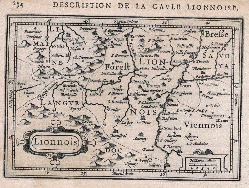 Lyon Rhone-Alpes carte gravure map Karte Hondius Kupferstich