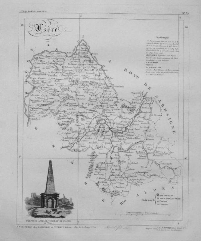 Departement Isère carte gravure Kupferstich Karte map France Frankreich