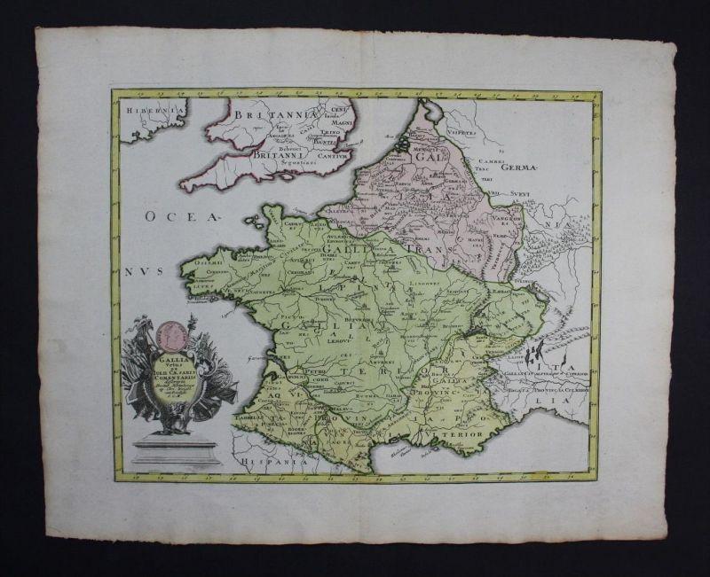 Frankreich France carte gravure engraving Karte map Kupferstich