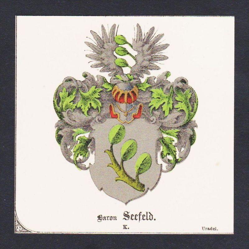 . Baron Seefeld Wappen Heraldik coat of arms heraldry Lithographie