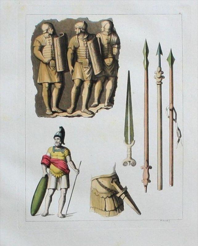 Römer Antike Waffen Militaria weapons Aquatinta aquatint antique print
