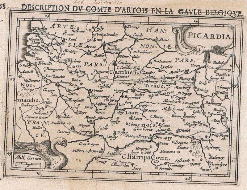 Picardie Aisne Oise Somme carte gravure map Karte Hondius Kupferstich