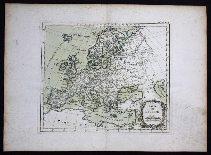 Europa Europe continet Kontinent Bellin Karte map carte Kupferstich