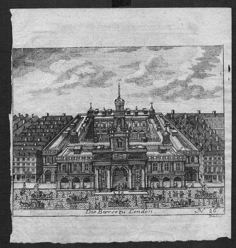 Börse Exchange market London Kupferstich engraving