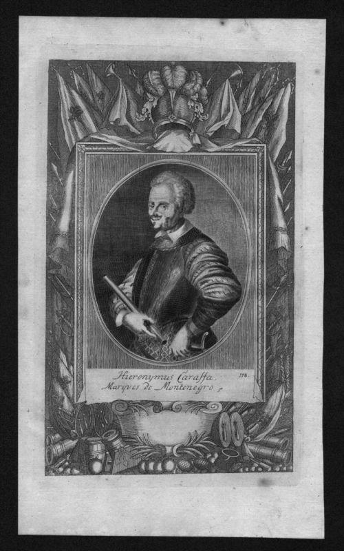 Hieronymus Carassa marques de Montenegro engraving Kupferstich Portrait