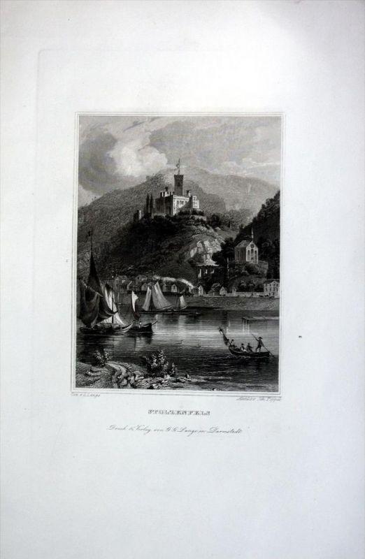 Schloss Stolzenfels Rheinland-Pfalz antique print engraving Stahlstich