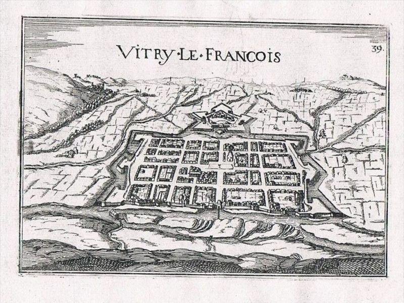 Vitry-le-Francois Marne Champagne-Ardenne view gravure Kupferstich Tassin