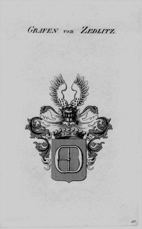 Zedlitz Wappen Adel coat of arms heraldry Heraldik crest Kupferstich