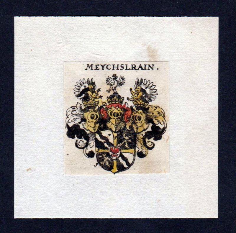 17. Jh Meychslrain Wappen Adel coat of arms heraldry Heraldik Kupferstich