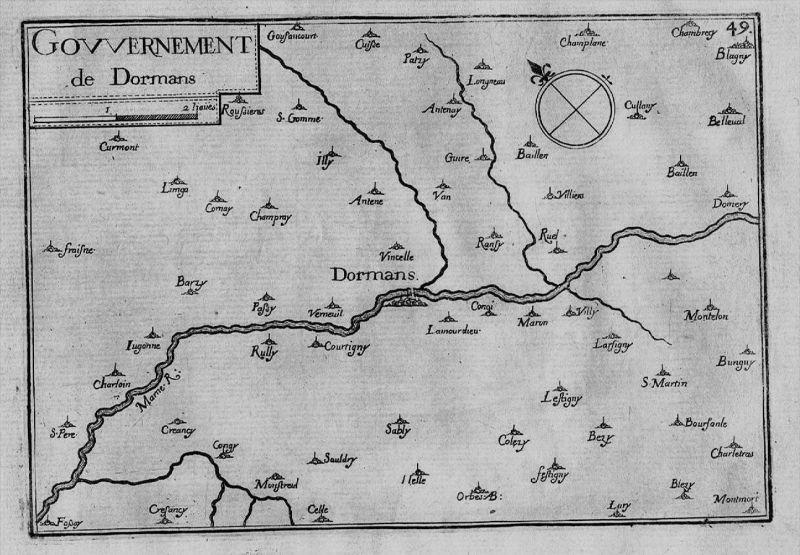 Dormans Marne Champagne-Ardenne map carte gravure Kupferstich Tassin