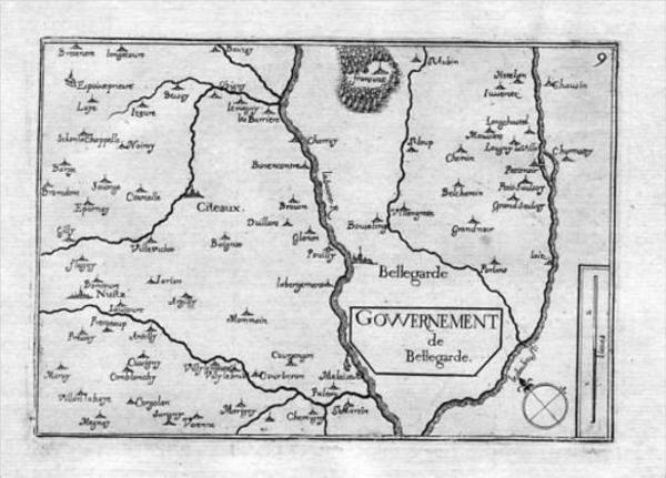 - Bellegarde Seurre Bourgogne Saône-et-Loire Carte map estampe