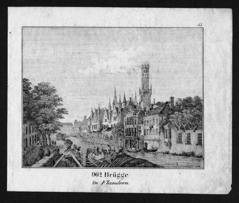 Brugge Bruges Vlaanderen Flandern Lithographie Lithograph