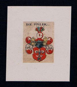 . Spiler Spil Spiel Wappen coat of arms heraldry Heraldik Kupferstich